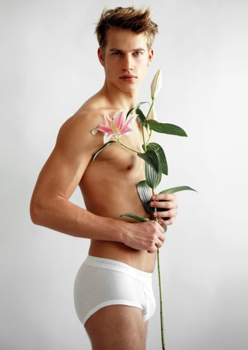 hot guy in underwear flowers romantic