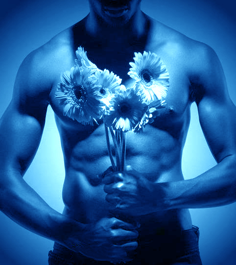 naked men and flowers