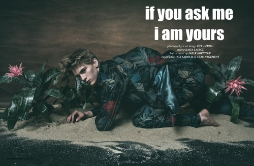 """If you ask me I am yours"" in the new CHASSEUR Magazine issue #10 LOVE ALONE starring by Dominik Sadoch at A S Management, photography by Zija + Pioro, Styling by Kasia Laszcz."