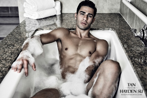 """Vanity"" captured by Hayden Su with LA model Furkan Tan for Elegant Magazine. This is the first peek at the hot bath scene with Furkan."