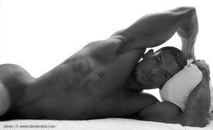 The man body in black and white picture